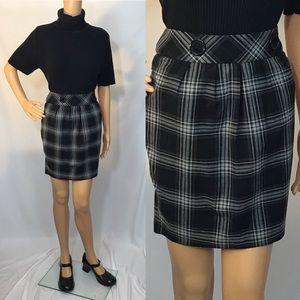 Vintage 90s Y2K Black Plaid Mini Skirt